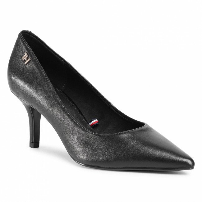 Lodičky TOMMY HILFIGER - Essential Leather Mid Heel Pump FW0FW05247 Black BDS