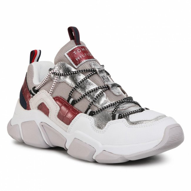 Sneakersy TOMMY HILFIGER - Croc Print Tommy Chunky Sneaker FW0FW05240 Silver 0IN