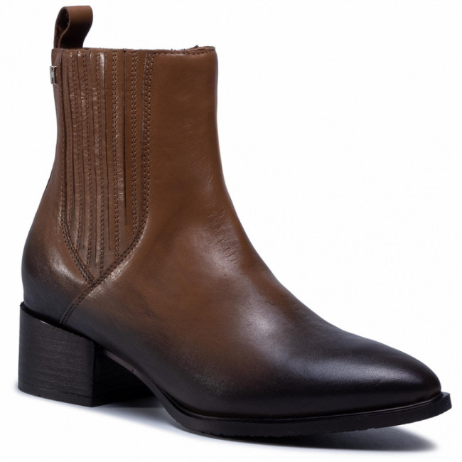 Členkové čižmy TOMMY HILFIGER - Shaded Leather Flat Boot FW0FW05173 Natural Cognac GTU