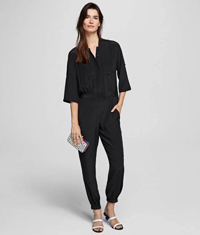 Šaty Karl Lagerfeld Silk Jumpsuit W/ Pleated Back
