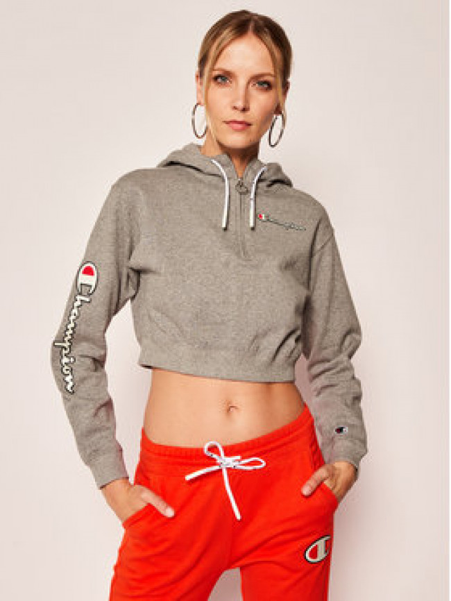Champion Mikina Half Zip-Up Script 112641 Sivá Regular Fit