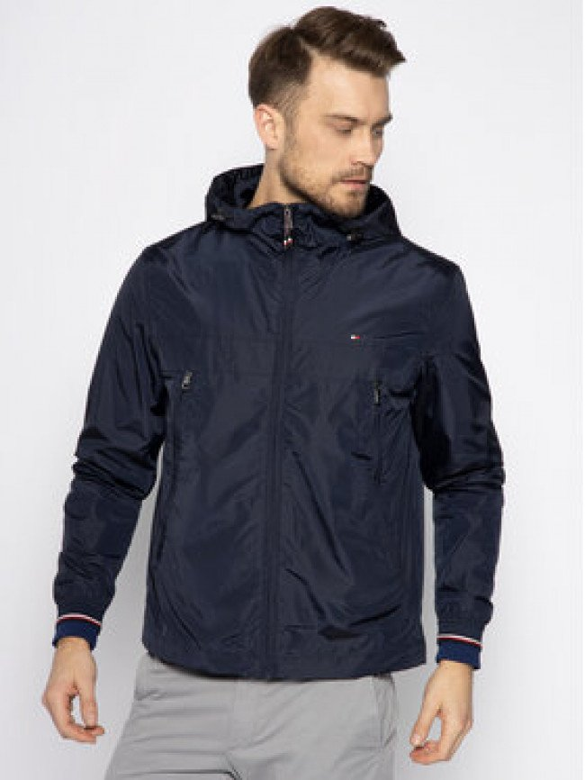 TOMMY HILFIGER Prechodná bunda Light Weight Hooded MW0MW12216 Tmavomodrá Regular Fit