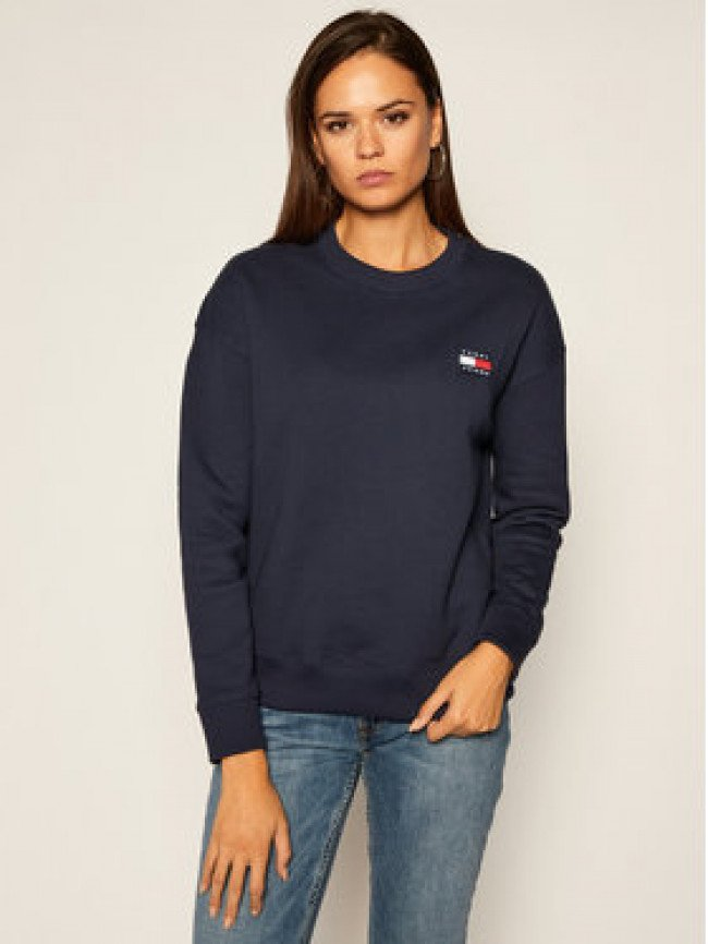Tommy Jeans Mikina Tommy Badge Crew DW0DW07786 Tmavomodrá Regular Fit