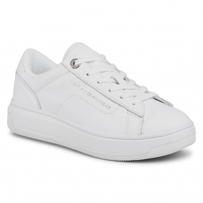 Sneakersy TOMMY HILFIGER - Leather Tommy Hilfiger Cupsole FW0FW05009 White YBR