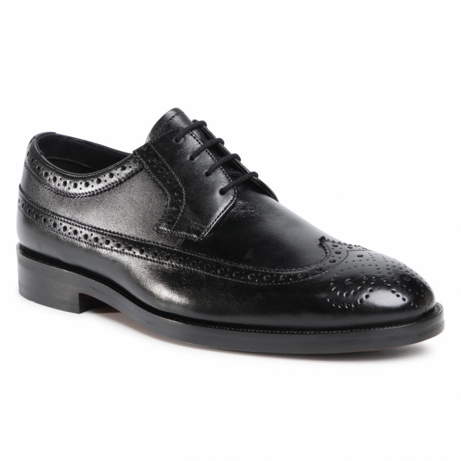 Poltopánky CLARKS - Oliver Wing 261524337 Black Leather