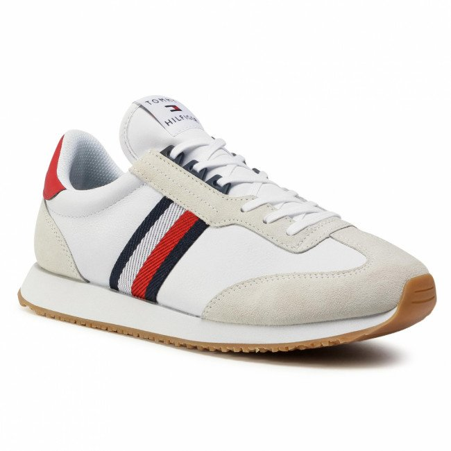 Sneakersy TOMMY HILFIGER - Lo Mix Runner Stripes FM0FM03003 White YBR