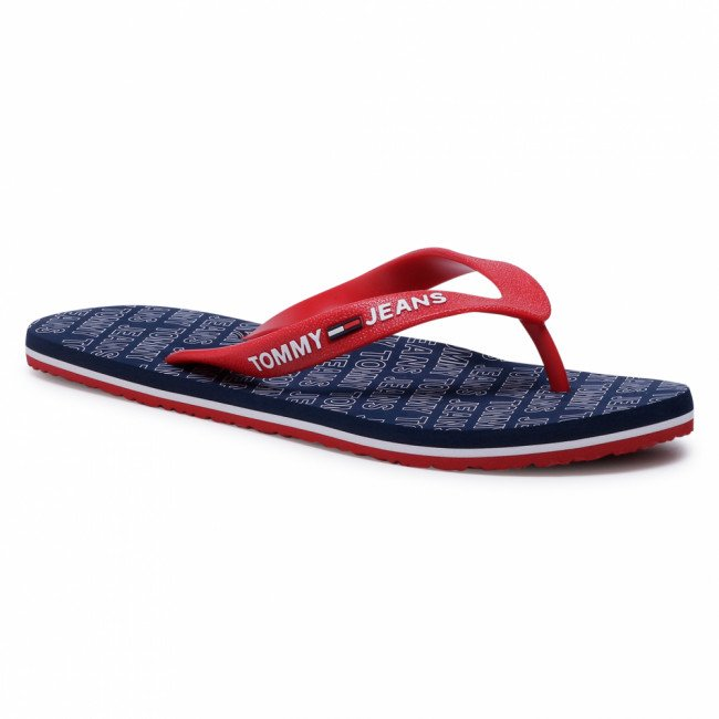 Žabky TOMMY JEANS - Repeat Print Beach Sandal EM0EM00469 Twilight Navy C87