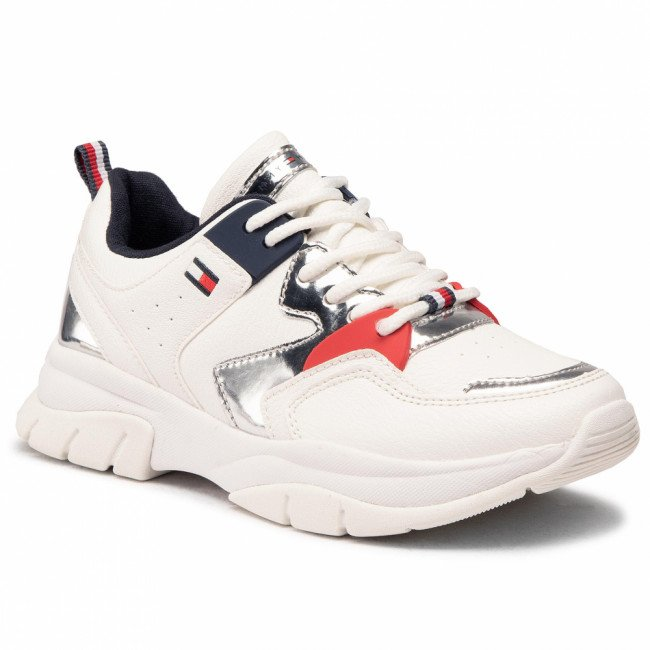 Sneakersy TOMMY HILFIGER - Low Cut Lace-Up Sneaker T3A4-30821-0193 M White/Silver X025