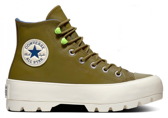 Converse gore-tex kožené tenisky na platforme Chuck Taylor All Star Lugged Winter Combat Green