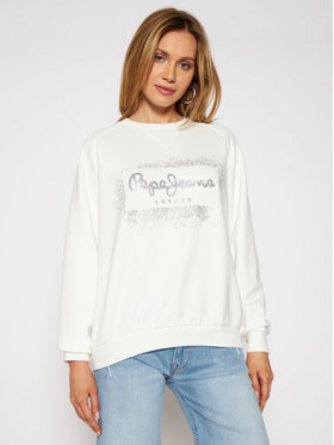 Pepe Jeans Mikina Andrea PL581070 Biela Relaxed Fit