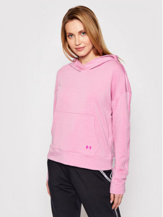 Under Armour Mikina Rival Terry Taped Ružová Loose Fit