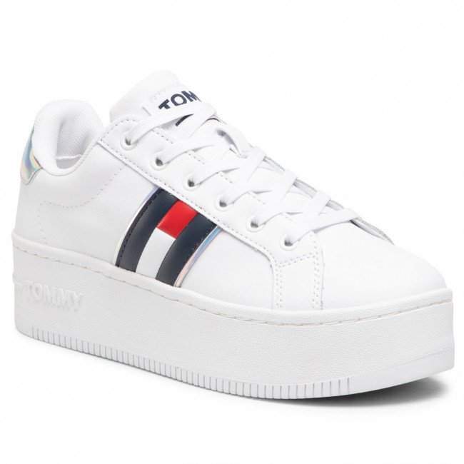 Sneakersy TOMMY JEANS - Iridescent Iconic Sneaker White YBR