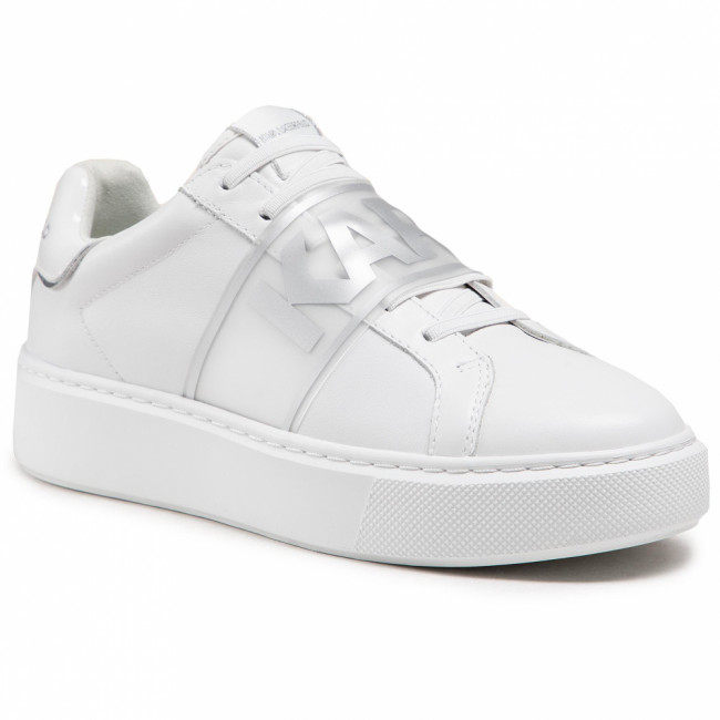 Sneakersy KARL LAGERFELD - KL62235 White Lther W/Silver