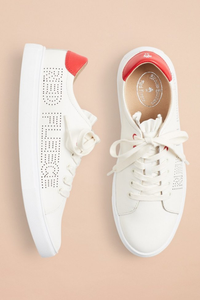 Tenisky Brooks Brothers Ruffle-Trimmed Logo-Detail Leather Low-Top Sneakers