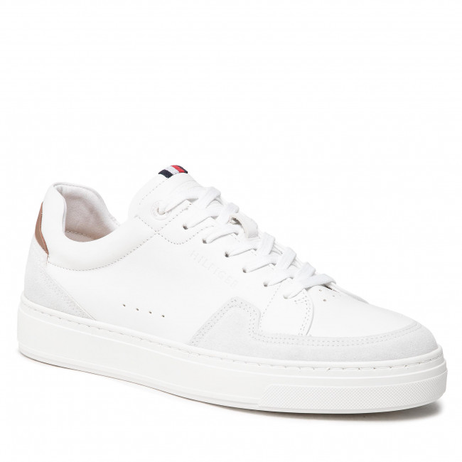 Sneakersy TOMMY HILFIGER - Cupsole Sustainable Leather Mix FM0FM03830 White YBR