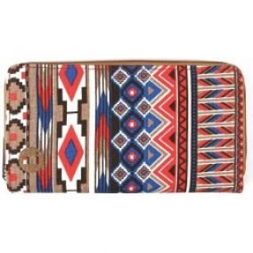 Mi-PAC Zip Purse Aztec Tan Red Blue