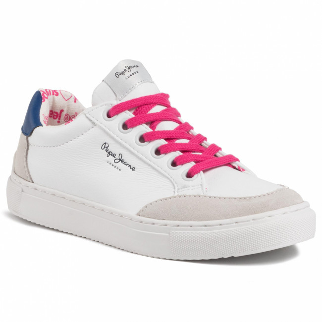 Sneakersy PEPE JEANS - Adams Basic Junior PGS30413 White 800