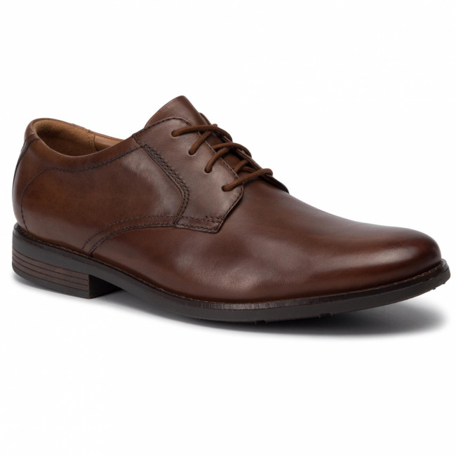Poltopánky CLARKS - Becken Lace 261452967 Dark Tan Leather