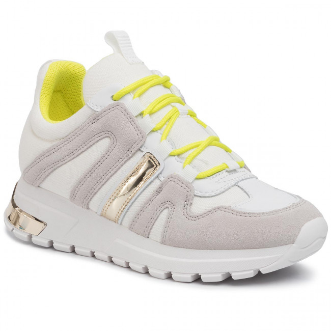 Sneakersy DKNY - Lace Up Sneaker K4918347  White/Neon Green