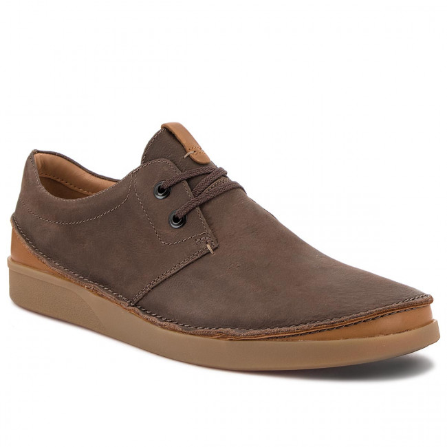 Poltopánky CLARKS - Oakland Lace 261353937 Dark Brown Leather