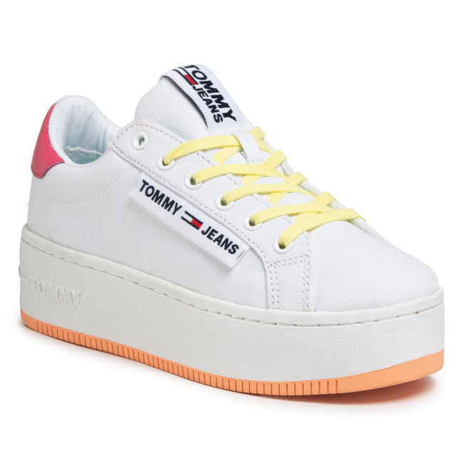 Tenisky TOMMY JEANS - Oversized Label Icon Sneaker EN0EN00787 White/Blush Red/ Melon Orange 0K4