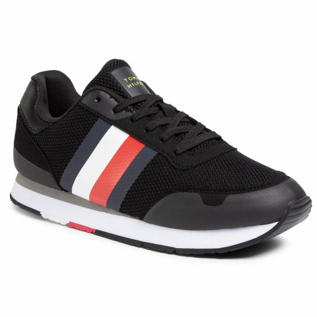 Sneakersy TOMMY HILFIGER - Corporate Material Mix Runner FM0FM02688 Black BDS