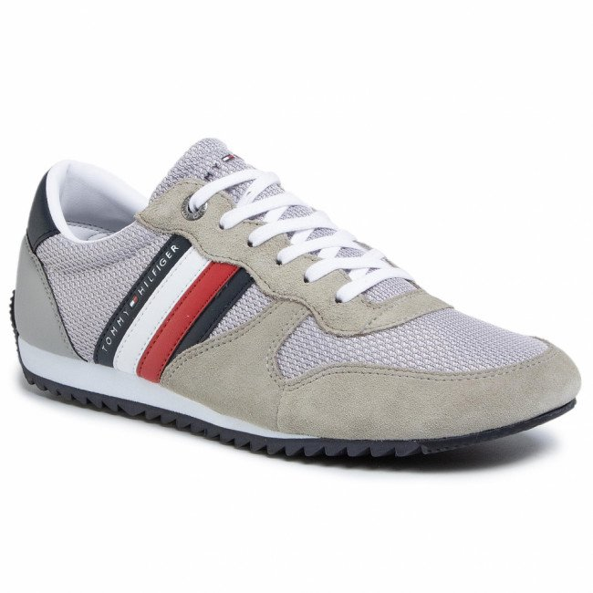 Sneakersy TOMMY HILFIGER - Essential Mesh Runner FM0FM02666 Antique Silver PRT