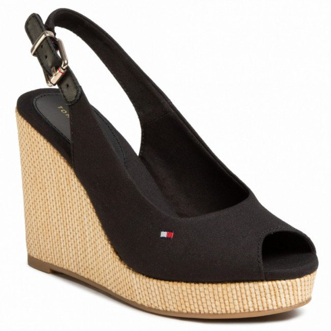 Espadrilky TOMMY HILFIGER - Iconic Elena Sling Back Wedge FW0FW04789 Black BDS