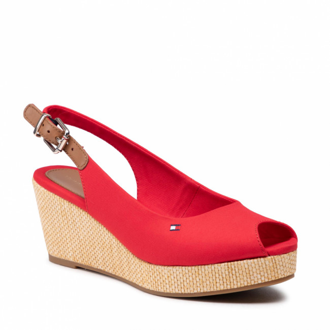 Espadrilky TOMMY HILFIGER - Iconic Elba Sling Back Wedge FW0FW04788 Primary Red XLG