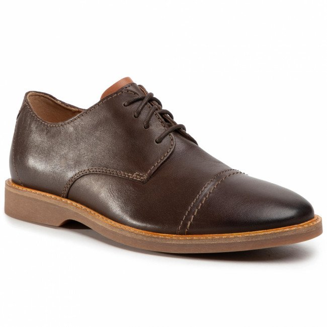 Poltopánky CLARKS - Atticus Cap 261452807  Dark Brown Leather