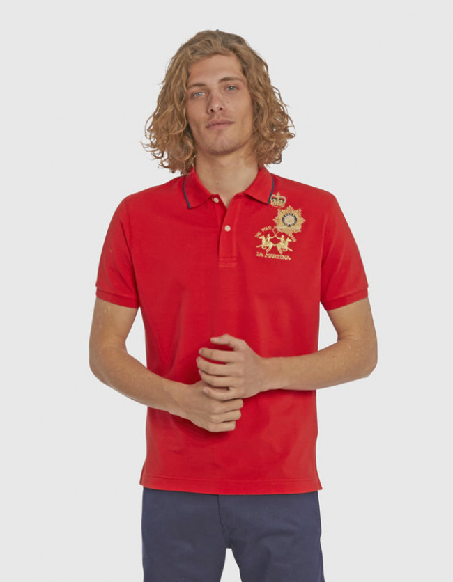 Polokošeľa La Martina Man Polo S/S Piquet Stretch - Červená - Xl