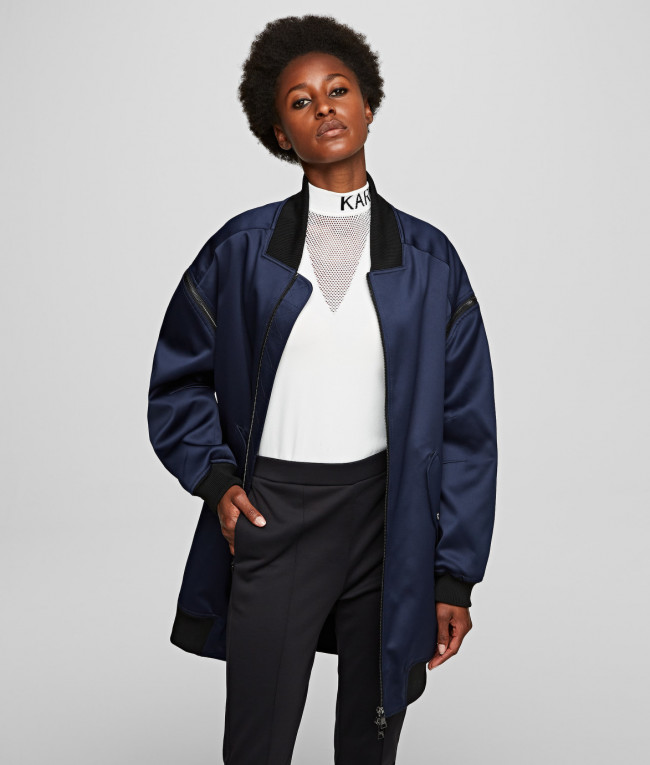 Bunda Karl Lagerfeld Bomber W/ Zip Off Sleeves - Modrá