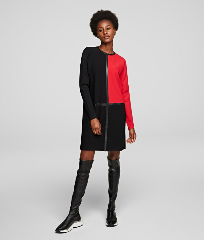 Šaty Karl Lagerfeld Colorblock Knit Dress