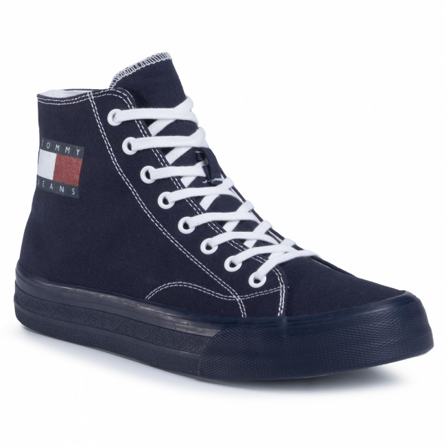 Sneakersy TOMMY JEANS - Midcut Lace Up Vulc EM0EM00485  Twilight Navy C87