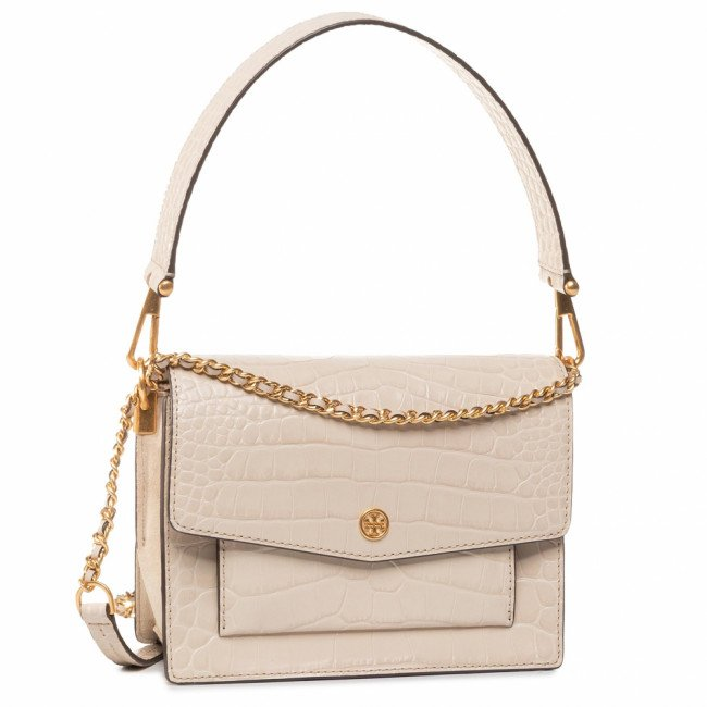 Kabelka TORY BURCH - Robinson Embossed Double-Strap Convertible Shoulder Bag 75211 Jamaica Sand  252