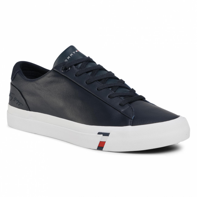 Sneakersy TOMMY HILFIGER - Corporate Leather Sneaker FM0FM02983 Desert Sky DW5