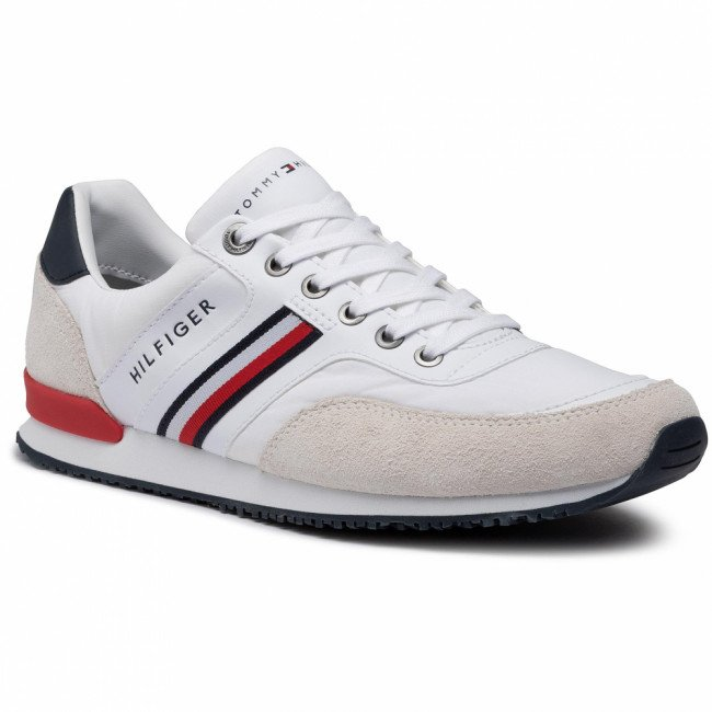 Sneakersy TOMMY HILFIGER - Iconic Material Mix Runner FM0FM02847 White YBR