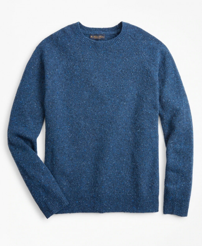 Sveter Brooks Brothers Merino Wool Donegal Raglan Crewneck Sweater