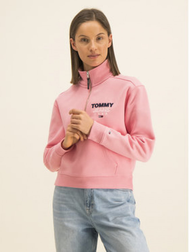 Tommy Jeans Mikina Logo Quarter DW0DW07662 Ružová Relaxed Fit