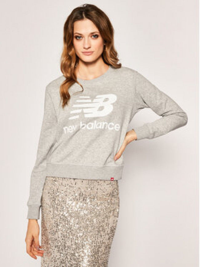 New Balance Mikina Essentials Crew WT91585 Sivá Relaxed Fit