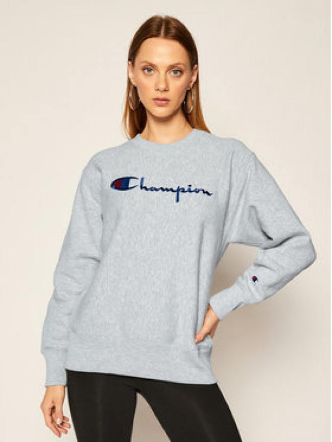 Champion Mikina Script Logo 113795 Sivá Regular Fit