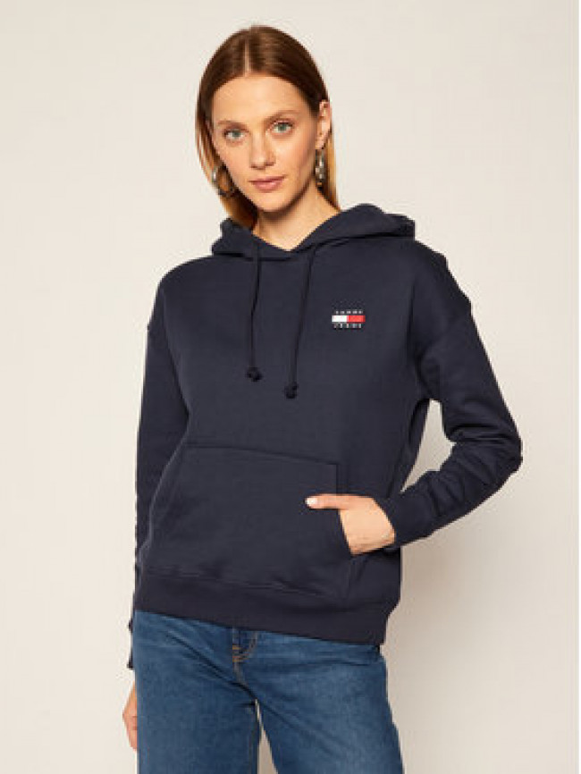 Tommy Jeans Mikina Badge DW0DW07787 Tmavomodrá Regular Fit
