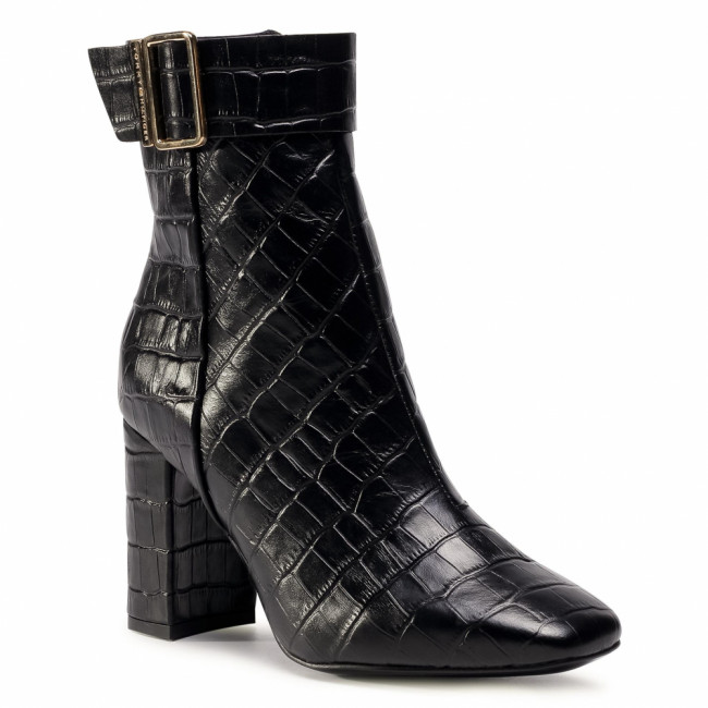 Členkové čižmy TOMMY HILFIGER - Croco Look High Heel Boot FW0FW05349 Black BDS