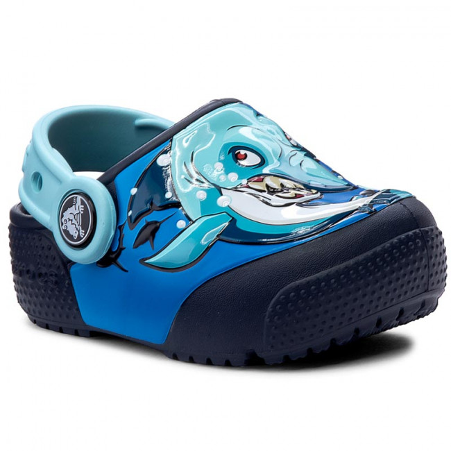 Šľapky CROCS - Funlab Lights 204133 Shark/Navy