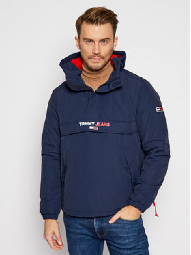 Tommy Jeans Bunda anorak Solid Popover DM0DM08760 Tmavomodrá Regular Fit
