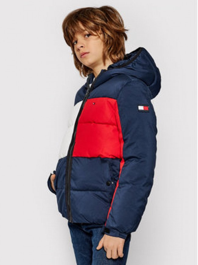 TOMMY HILFIGER Vatovaná bunda Flag KB0KB05990 D Tmavomodrá Regular Fit