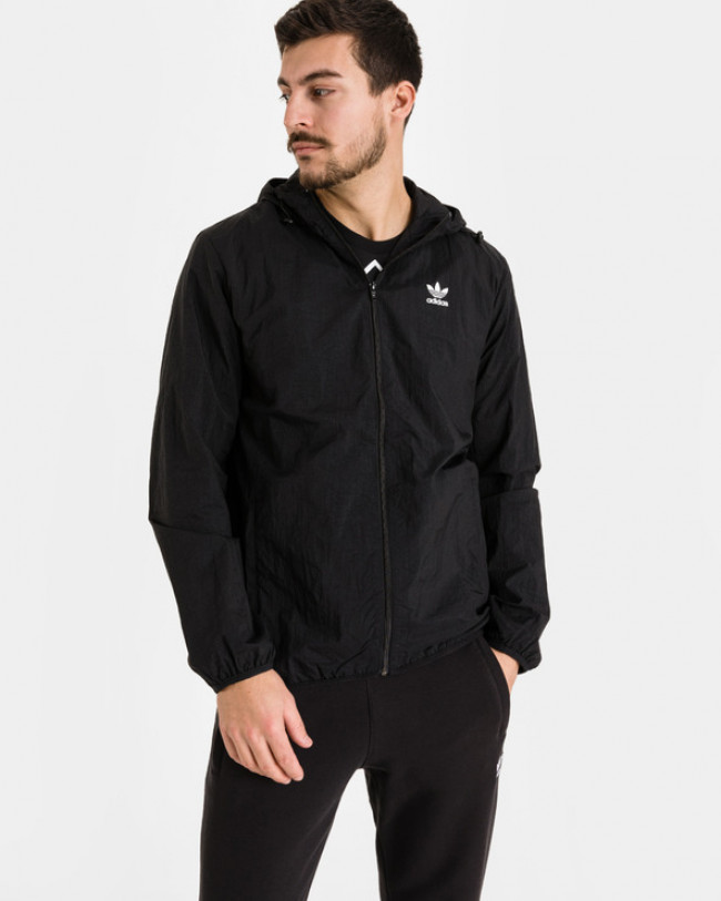 adidas Originals Trefoil Essentials Windbreaker Bunda Čierna