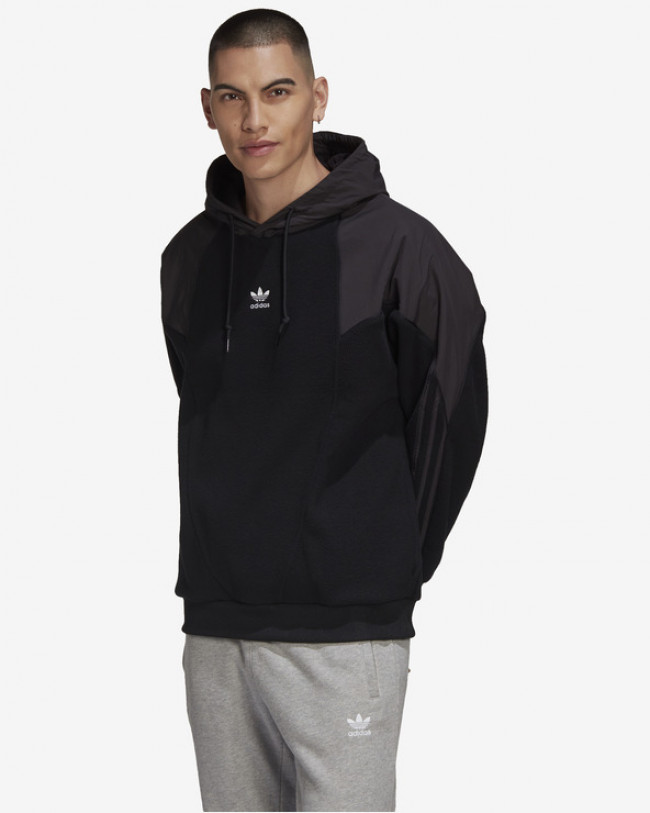 adidas Originals Big Trefoil Polar Fleece Mix Mikina Čierna
