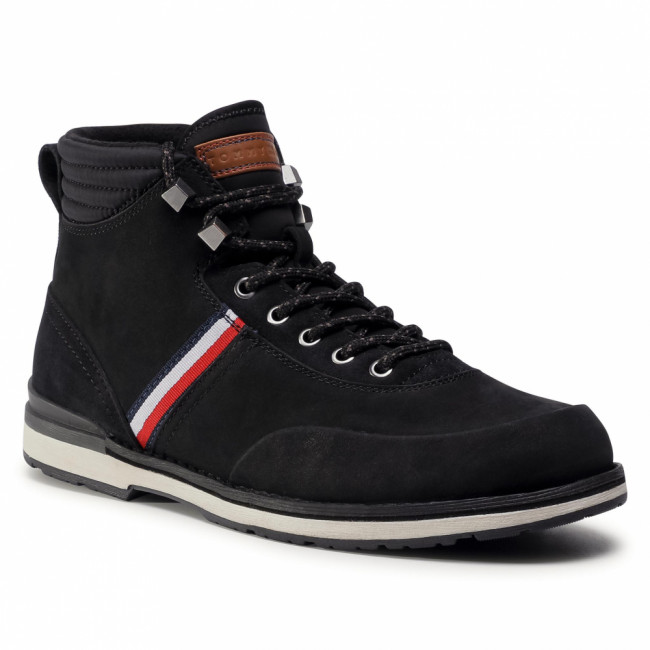 Členková obuv TOMMY HILFIGER - Outdoor Corporate Nubuck Boot FM0FM03060 Black BDS