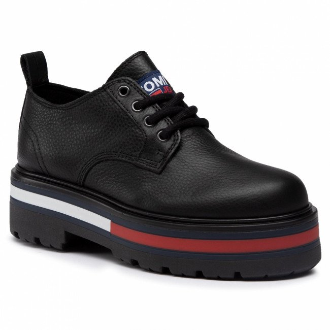 Poltopánky TOMMY JEANS - Flag Outsole Lace Up Shoe  Black BDS